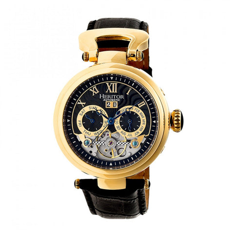 Heritor Automatic Ganzi Semi-Skeleton Leather-Band Watch - Gold/Black HERHR3304