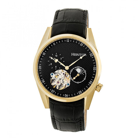 Heritor Automatic Alexander Semi-Skeleton Leather-Band Watch - Gold/Black HERHR4904
