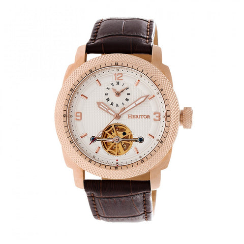 Heritor Automatic Helmsley Semi-Skeleton Leather-Band Watch - Rose Gold/White HERHR5008