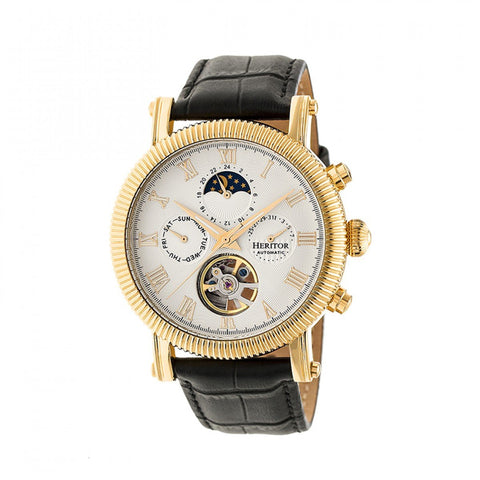Heritor Automatic Winston Semi-Skeleton Leather-Band Watch - Gold/White HERHR5203