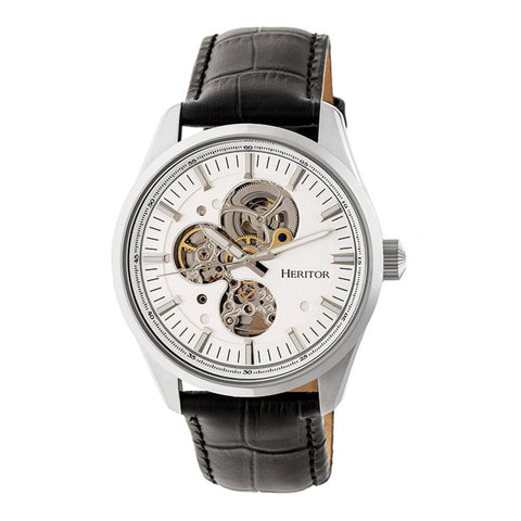 Heritor Automatic Stanley Semi-Skeleton Leather-Band Watch - Silver HERHR6503