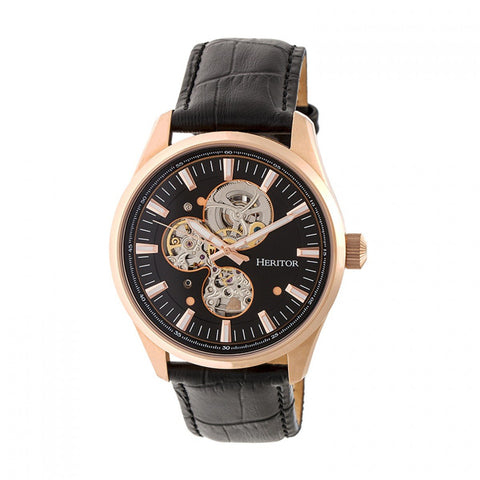 Heritor Automatic Stanley Semi-Skeleton Leather-Band Watch - Rose Gold/Black HERHR6506