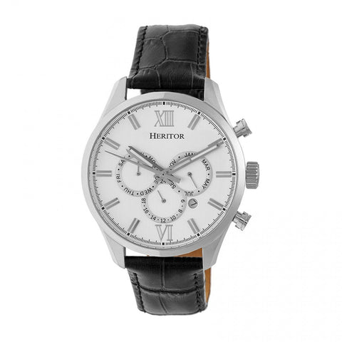 Heritor Automatic Benedict Leather-Band Watch w/ Day/Date - Silver HERHR6801