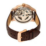 Heritor Automatic Winthrop Leather-Band Skeleton Watch - Rose Gold/Silver HERHR7305
