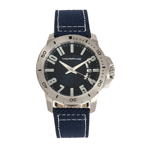 Morphic M70 Series Canvas-Overlaid Leather-Band Watch w/Date - Silver/Blue MPH7002