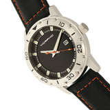 Morphic M71 Series Leather-Band Watch w/Date - Silver/Black MPH7101