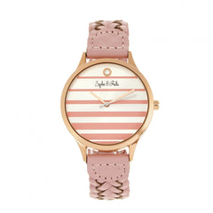 Sophie & Freda Tucson Leather-Band Watch w/Swarovski Crystals - Rose Gold/Pink
