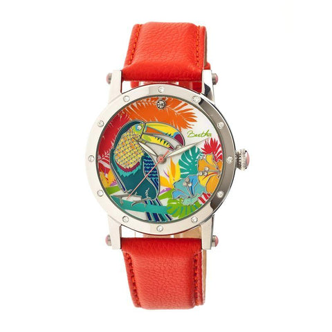 Bertha Gisele MOP Leather-Band Ladies Watch - Silver/Orange BTHBR4402