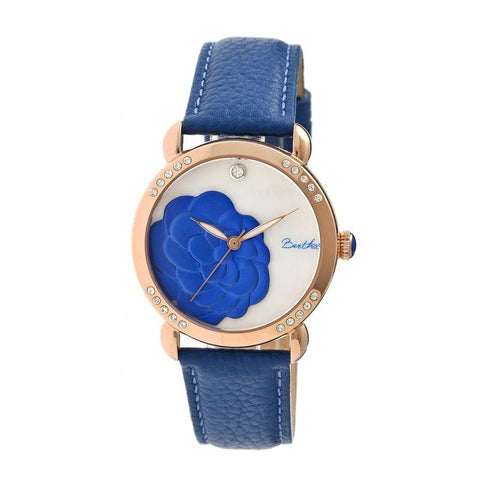 Bertha Daphne MOP Leather-Band Ladies Watch - Blue/White BTHBR4607