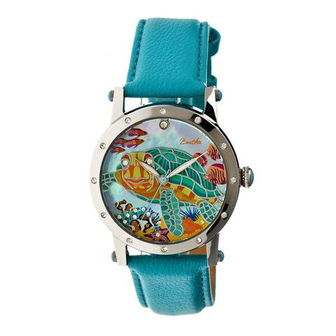 Bertha Chelsea MOP Leather-Band Ladies Watch - Silver/Turquoise BTHBR4901