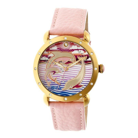 Bertha Estella MOP Leather-Band Ladies Watch - Gold/Pink BTHBR5104