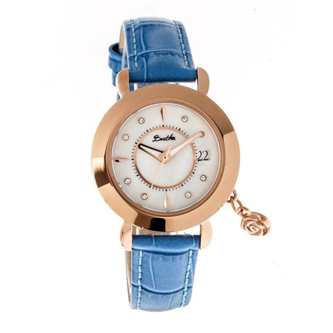 Bertha Rose MOP Leather-Band Ladies Watch w/ Date - Rose Gold/Cerulean BTHBR5505