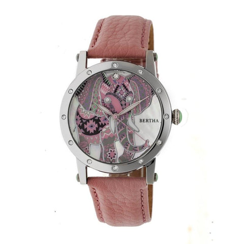 Bertha Betsy MOP Leather-Band Ladies Watch - Silver/Pink BTHBR5702