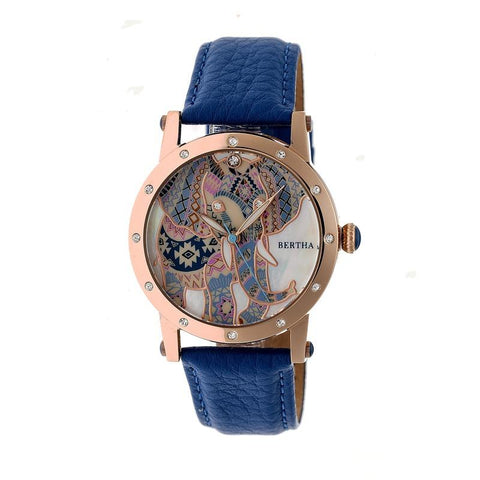 Bertha Betsy MOP Leather-Band Ladies Watch - Rose Gold/Blue BTHBR5705