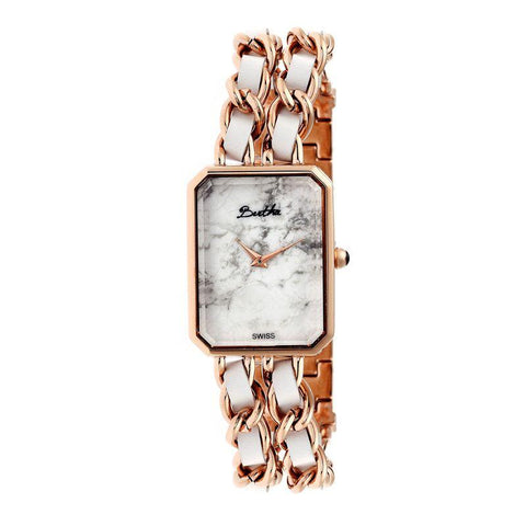 Bertha Eleanor Ladies Swiss Bracelet Watch - Rose Gold/White BTHBR5905