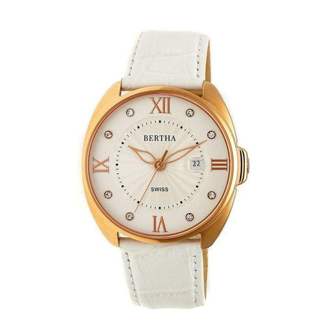 Bertha Amelia Leather-Band Watch w/Date - White BTHBR6307