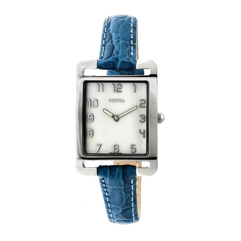 Bertha Marisol Swiss MOP Leather-Band Watch - Blue BTHBR6901