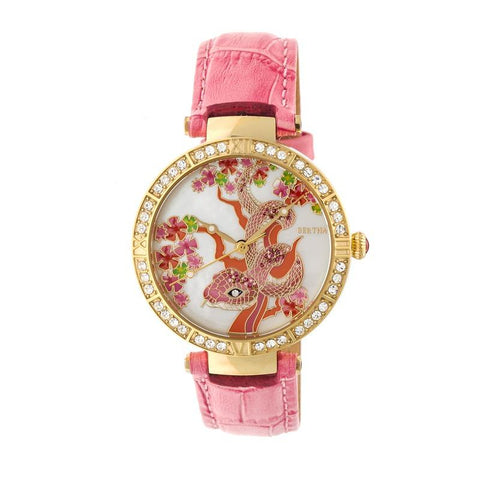 Bertha Mia Mother-Of-Pearl Leather-Band Watch - Pink  BTHBR7404