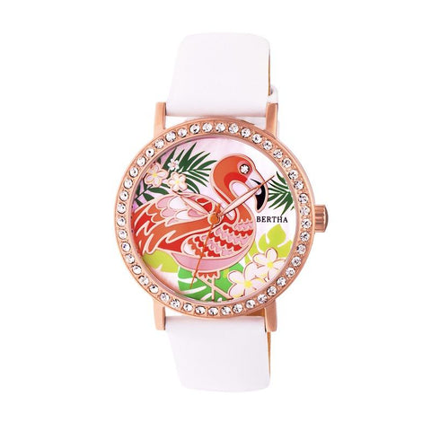 Bertha Luna Mother-Of-Pearl Leather-Band Watch - White BTHBR7705