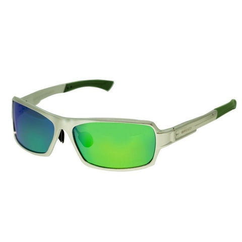Breed Cosmos Aluminium Polarized Sunglasses - Silver/Blue-Green BSG013SR