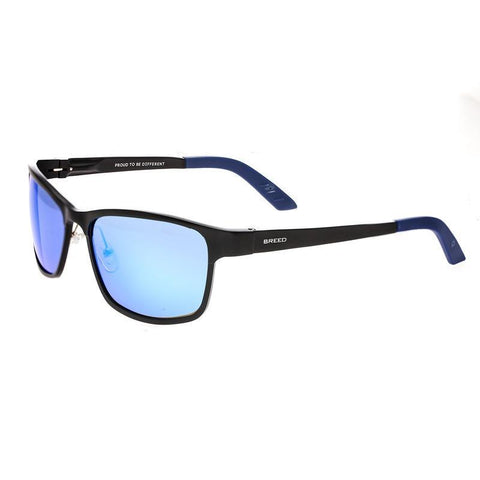 Breed Hydra Aluminium Polarized Sunglasses - Black/Blue BSG022BK