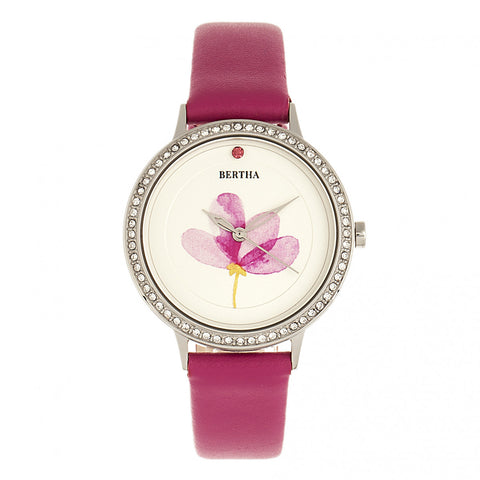 Bertha Delilah Leather-Band Watch - Silver/Fuchsia BTHBR8603
