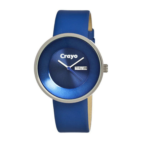 Crayo Button Leather-Band Unisex Watch w/ Day/Date - Blue CRACR0202