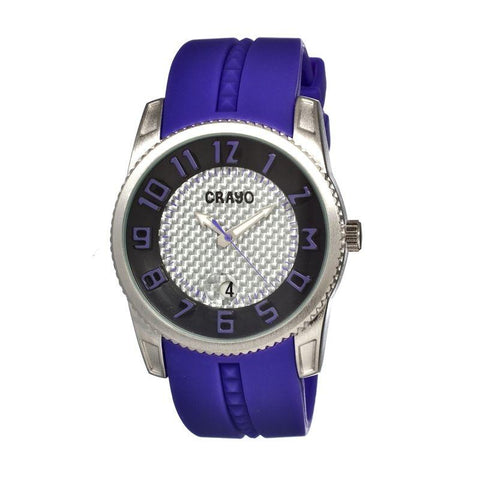 Crayo Rugged Men's Watch w/ Magnified Date - Purple CRACR0905