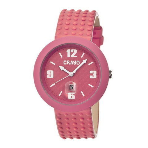 Crayo Jazz Leather-Band Unisex Watch w/ Date - Pink CRACR1809