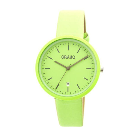 Crayo Easy Leather-Band Unisex Watch w/ Date - Lime CRACR2406