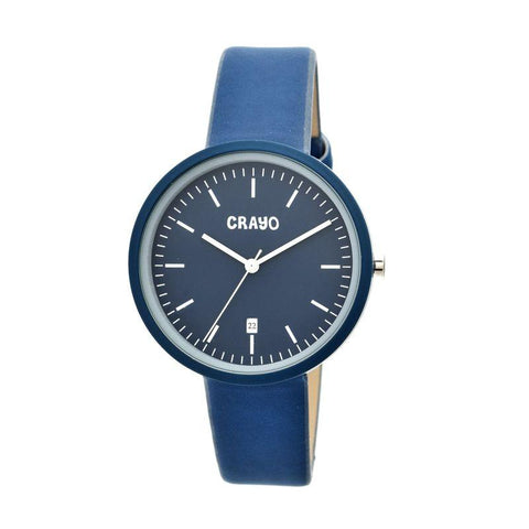 Crayo Easy Leather-Band Unisex Watch w/ Date - Navy CRACR2407