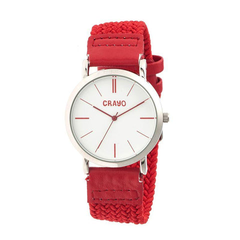 Crayo Symphony Braided-Nylon-Band Unisex Watch - Red CRACR2701