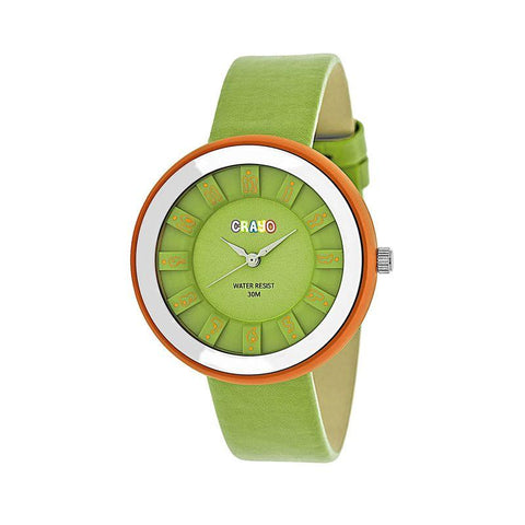 Crayo Celebration Leather-Band Watch - Green CRACR3404