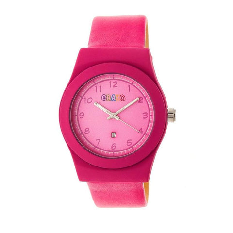Crayo Dazzle Leather-Band Watch w/Date - Pink CRACR4104