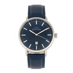 Elevon Vin Leather-Band Watch w/Date Display - Silver/Blue