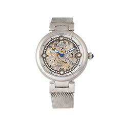 Empress Adelaide Automatic Skeleton Mesh-Bracelet Watch - Silver