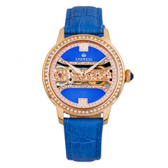Empress Rania Mechanical Semi-Skeleton Leather-Band Watch - Blue EMPEM2804
