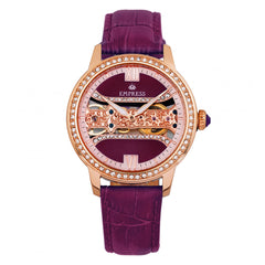 Empress Rania Mechanical Semi-Skeleton Leather-Band Watch - Plum EMPEM2805
