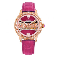 Empress Rania Mechanical Semi-Skeleton Leather-Band Watch - Pink EMPEM2806