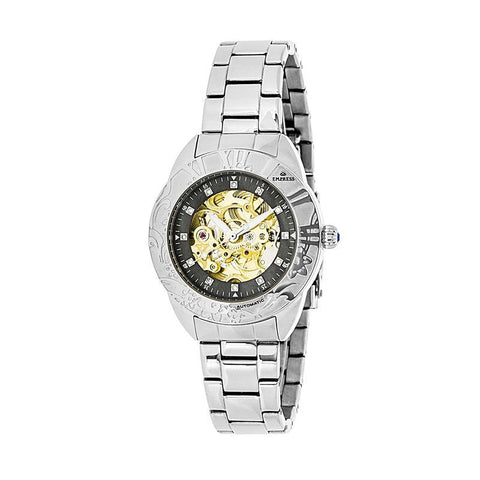 Empress Godiva Automatic MOP Bracelet Watch - Silver/Black EMPEM1102