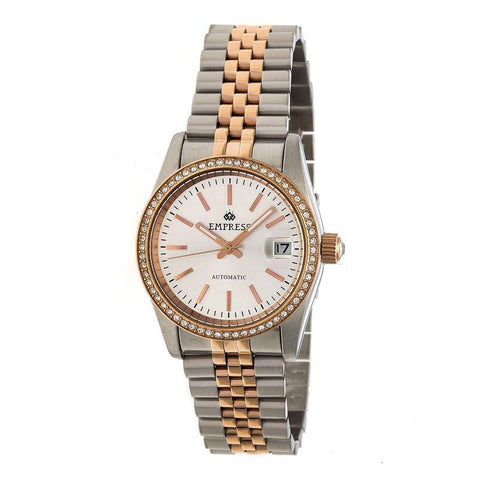 Empress Constance Automatic Bracelet Watch w/Date - Rose Gold/White EMPEM1507