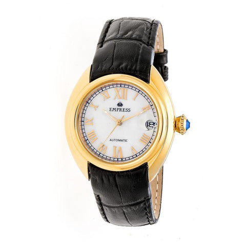 Empress Antoinette Automatic MOP Leather-Band Watch - Gold/White EMPEM1403