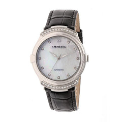 Empress Francesca Automatic MOP Leather-Band Watch - Black