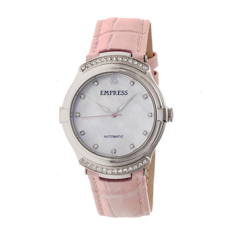 Empress Francesca Automatic MOP Leather-Band Watch - Light Pink EMPEM2202