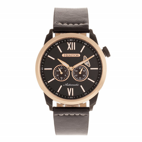 Heritor Automatic Wellington Leather-Band Watch - Rose Gold/Black HERHR8206