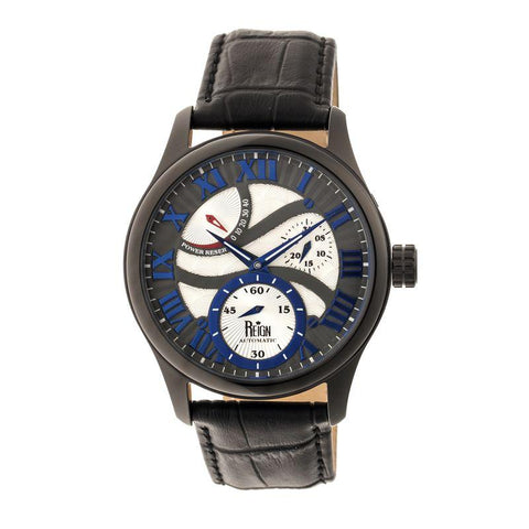 Reign Bhutan Leather-Band Automatic Watch - Black REIRN1603