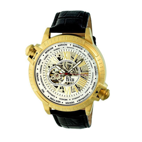 Reign Thanos Automatic Leather-Band Watch - Gold/White REIRN2106