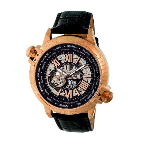Reign Thanos Automatic Leather-Band Watch - Rose Gold/Black REIRN2107