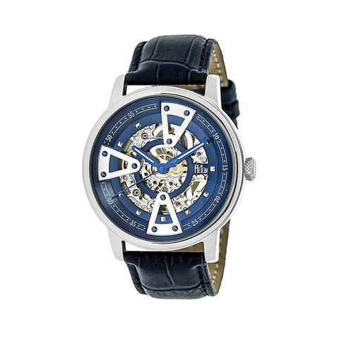 Reign Belfour Automatic Skeleton Leather-Band Watch - Silver/Blue REIRN3603