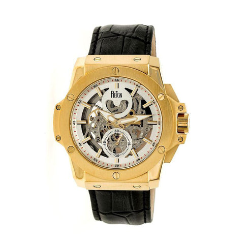 Reign Commodus Automatic Skeleton Leather-Band Watch - Gold/Silver REIRN4003